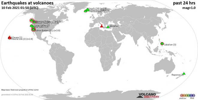 World map showing volcanoes with shallow (less than 20 km) earthquakes within 20 km radius  during the past 24 hours on 10 Feb 2021 Number in brackets indicate nr of quakes.