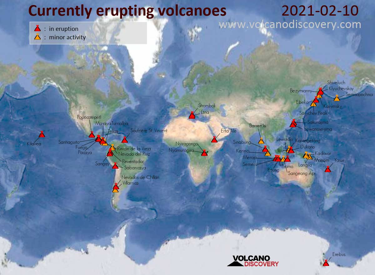 Currently active volcanoes in the world