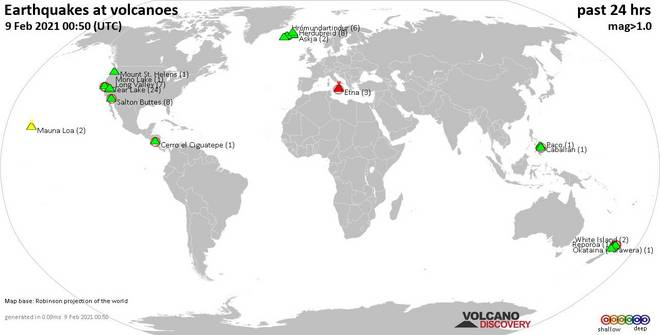World map showing volcanoes with shallow (less than 20 km) earthquakes within 20 km radius  during the past 24 hours on  9 Feb 2021 Number in brackets indicate nr of quakes.